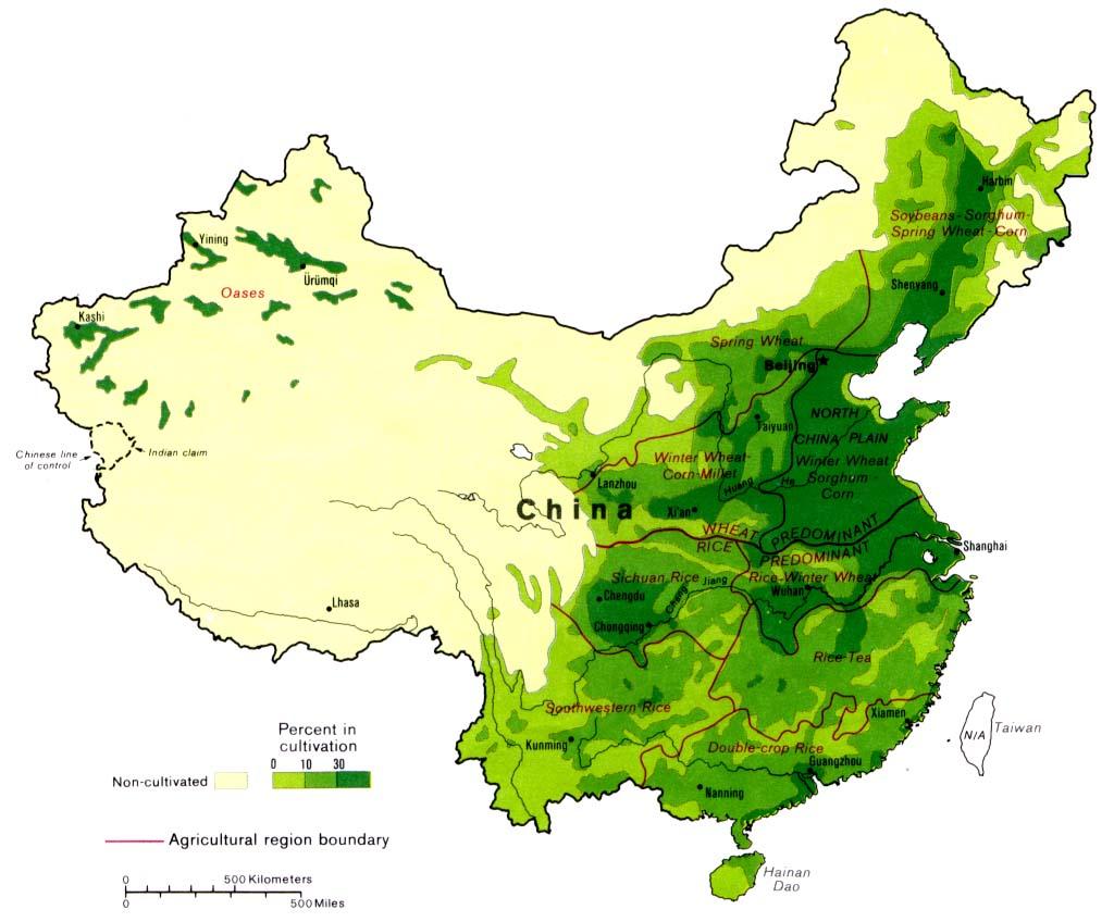 Cina - Principali zone di produzione agricola