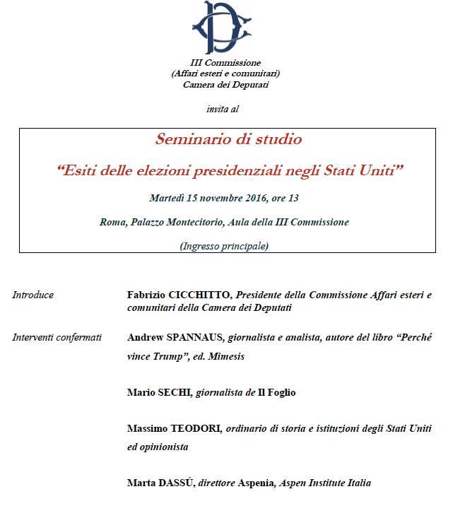 Esiti delle elezioni presidenziali negli stati uniti for Commissione esteri camera