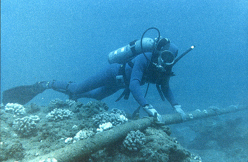 Diver-underwater cable